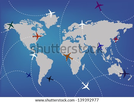 Airplanes and map - stock vector