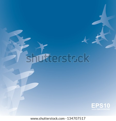 Airplanes background - vector illustration - stock vector