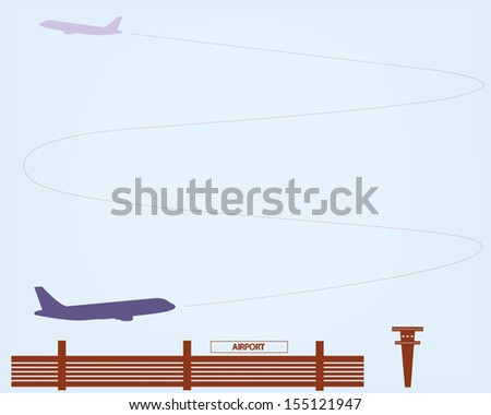 Airplanes climbing after take off. Vector illustration. - stock vector