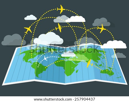 Airplanes flying over the abstract map - stock vector
