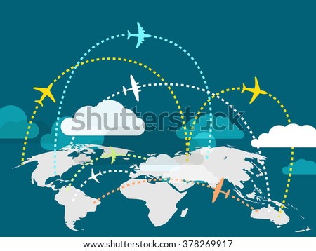 Airplanes flying over the Earth map  - stock vector