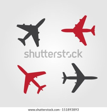 Airplanes icons - stock vector