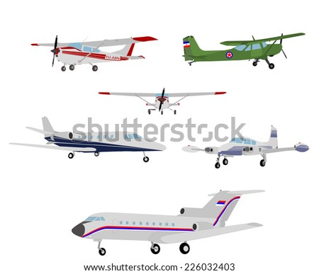 airplanes illustration - stock vector