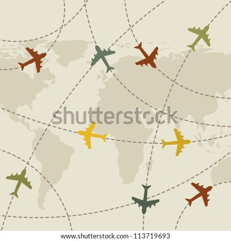 airplanes vintage over map background. vector illustration - stock vector