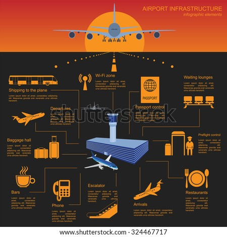 Airport, air travel infographic with design elements. Infographic template with statistical data. Vector illustration - stock vector