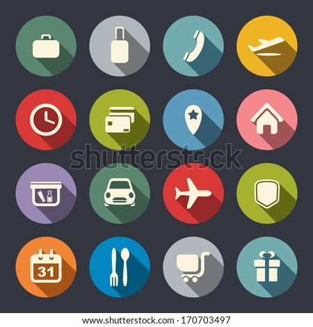 Airport and airlines services flat icons - stock vector