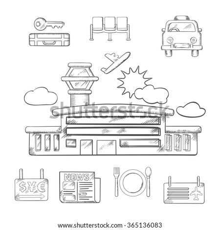 Airport and flight service sketch design with airport, taxi, ticket, waiting, baggage, currency exchange and service icons. Sketched vector objects - stock vector