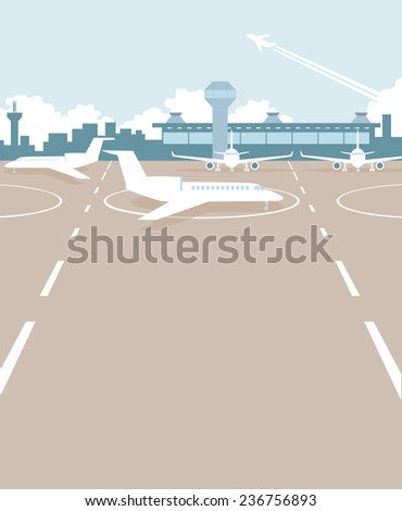 Airport building from outside and field with planes  - stock vector