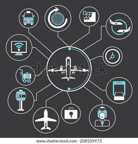 airport concept info graphic in black background, mind mapping - stock vector