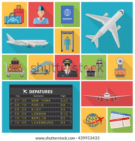 Airport decorative flat icons set with airplanes departures schedule pilot ticket luggage hangar passport isolated vector illustration - stock vector