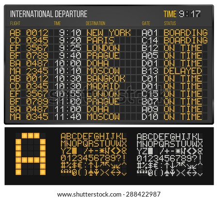 Airport Departure or Arrival board. Electronic table and Digital Led Font.  - stock vector