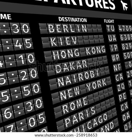Airport electronic flip-flap board departure arrival and delay flight status information black digital display perspective vector illustration - stock vector