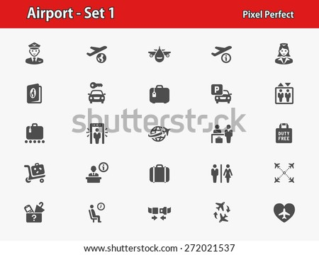 Airport Icons. Professional, pixel perfect icons optimized for both large and small resolutions. EPS 8 format. - stock vector