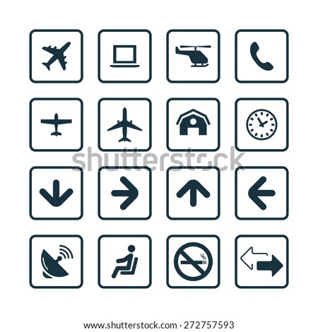 airport icons universal set for web and mobile - stock vector