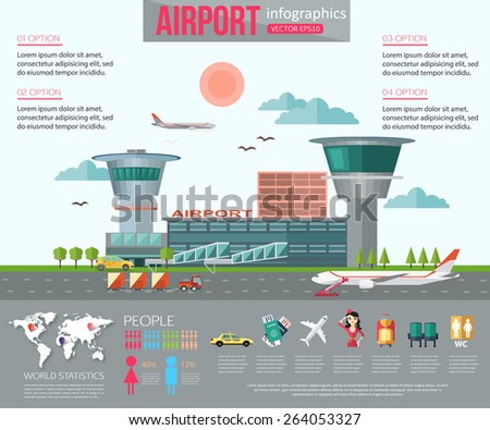 Airport infographics with place for text. Flat style design. Vector illustration. - stock vector
