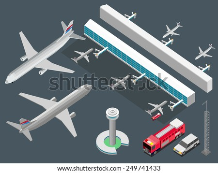 airport isometric. airplane, station, truck . detailed vector - stock vector