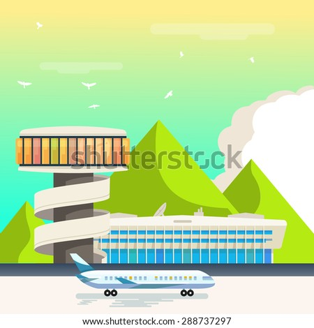 Airport landscape - stock vector