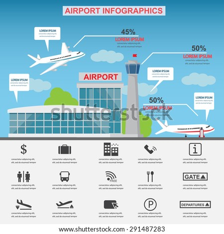 Airport service business icons with architect and airplane design. Can be used for statistic business data, web design, info chart, brochure template. vector illustration. vector illustration - stock vector