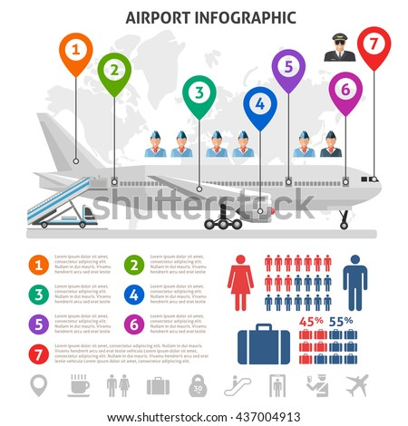 Airport service infographics with airplane world map stewardesses pilot information signs statistics on white background vector illustration - stock vector