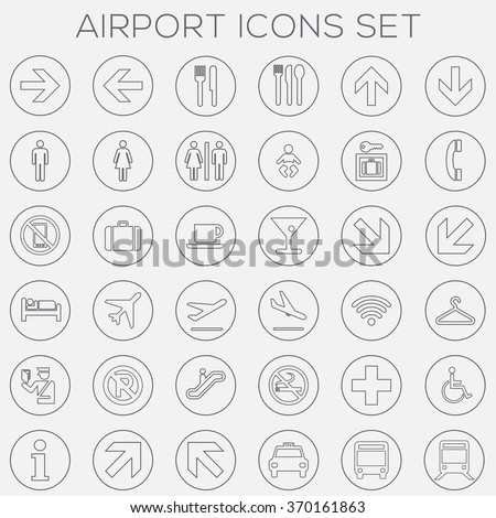 Airport Signage Icons Set - vector eps10 - stock vector