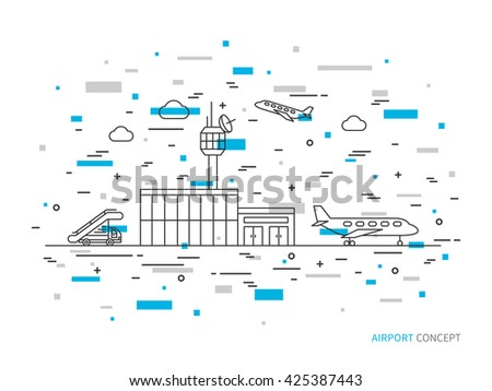 Airport (terminal, plane, transportation) linear vector illustration. Airport creative graphic concept. Colorful airport graphic design. - stock vector