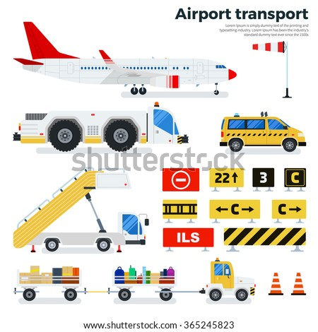 Airport transport vector flat illustrations. Different types of transport working on the airfield. Cargoes, luggage cars, taxi, ladder and road signs isolated on white background - stock vector