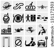 Airport vector  icons set. Elegant series icons and signs - stock vector