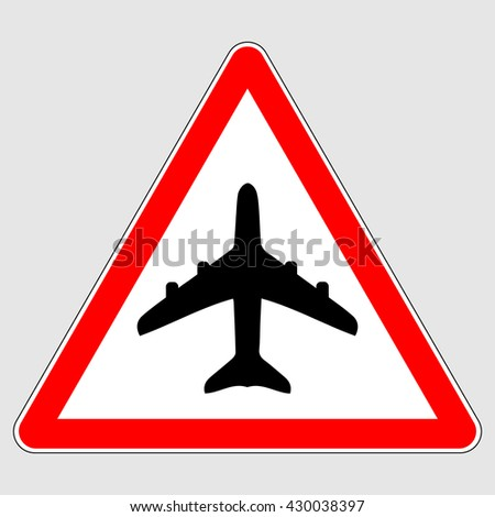 Airport warning sign , red triangle airport traffic sign , airplane traffic sign , vector illustration - stock vector