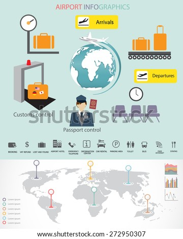 airport with world map infographic element. Can be used for workflow layout, banner, diagram, web design, timeline, info chart, statistic template. vector illustration - stock vector