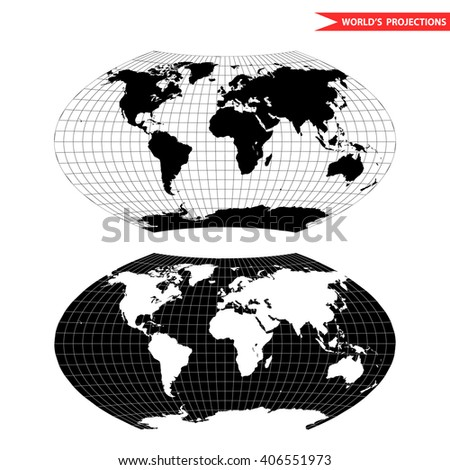 Aitoff world map projection. Black and white world map vector illustration. - stock vector