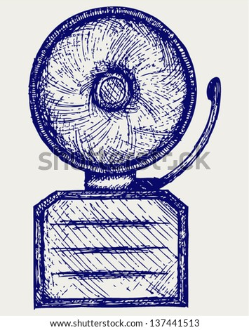 Alarm bell. Doodle style - stock vector