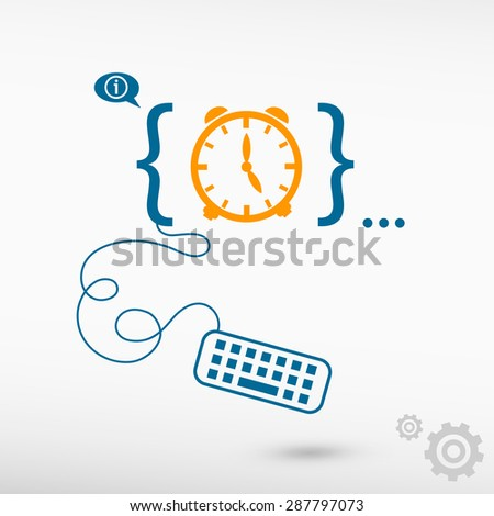Alarm clock and flat design elements. Design concept icons for application development, web design, creative process, social media, seo, web page coding and programming. - stock vector