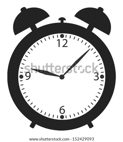 alarm clock black and white icon - stock vector