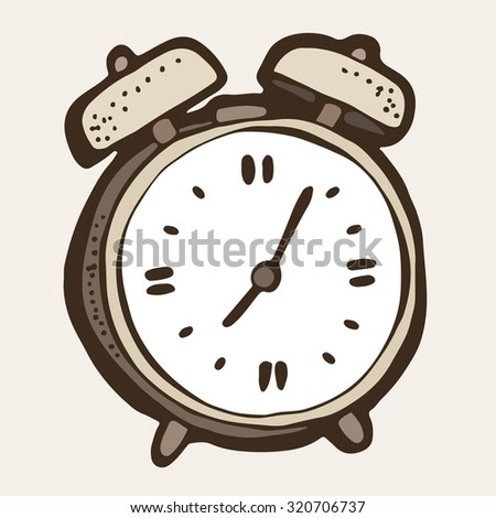 Alarm clock cartoon, vintage style drawing - stock vector