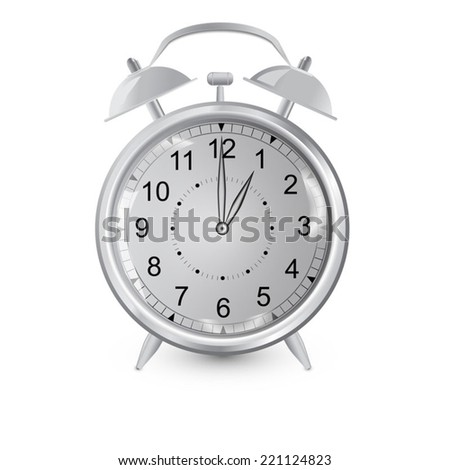 Alarm clock,gradient vector,gray - stock vector