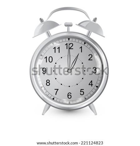 Alarm clock,gradient vector gray,Isolated image of an alarm clock,drop shadow - stock vector