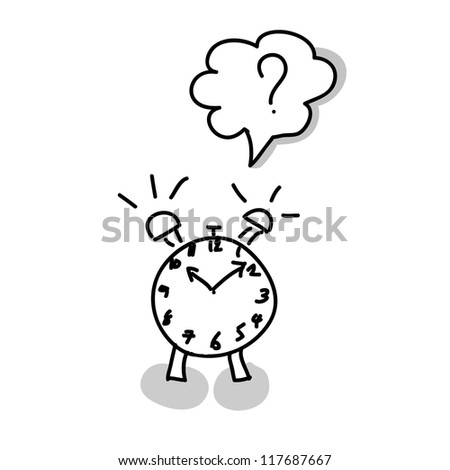 Alarm clock hand writing on white background - stock vector