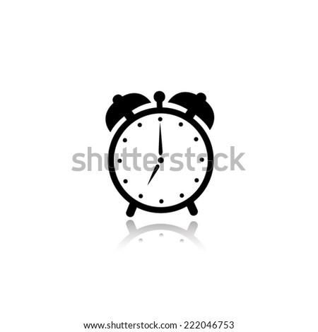 alarm clock icon - black vector illustration with reflection - stock vector