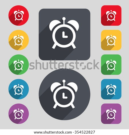 alarm clock icon sign. A set of 12 colored buttons and a long shadow. Flat design. Vector illustration - stock vector