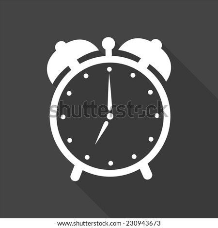 alarm clock icon - vector illustration with long shadow isolated on gray  - stock vector