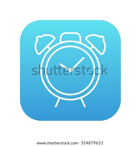 Alarm clock line icon for web, mobile and infographics. Vector white icon on the blue gradient square with rounded corners isolated on white background. - stock vector
