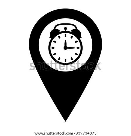 alarm clock - map pointer vector icon - stock vector