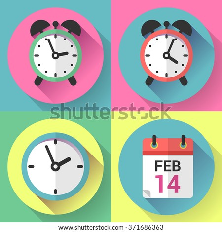 Alarm clock, office clock and calendar with a date of Valentines Day.  - stock vector