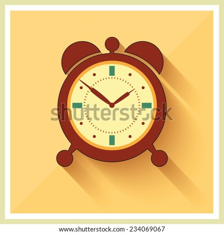 Alarm Clock on Retro Blue Background Vector - stock vector