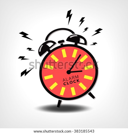 alarm clock, red black and white vector illustration - stock vector