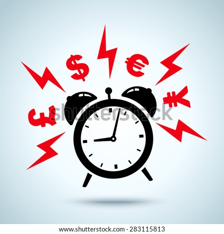 alarm clock ringing and money - stock vector