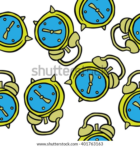 alarm clock seamless pattern on white background - stock vector