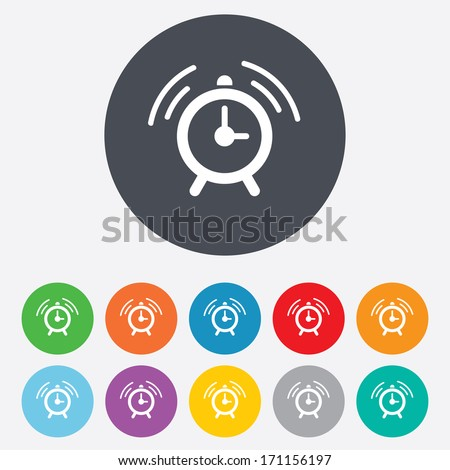 Alarm clock sign icon. Wake up alarm symbol. Round colourful 11 buttons. Vector - stock vector