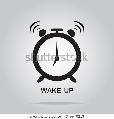 Alarm clock sign, wake up icon illustration - stock vector