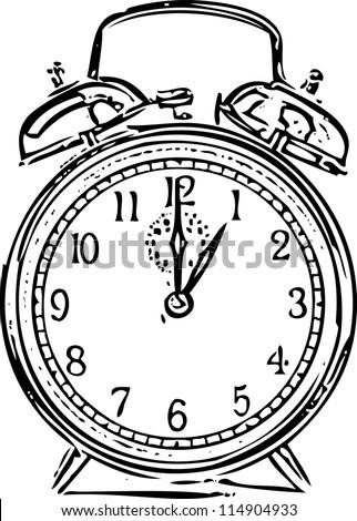 Alarm clock sketch vector illustration - stock vector